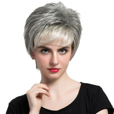 Women 100% Real Human Hair Wigs Heat Short Layered Resistant Gray + White