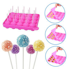 Cake Cookie Chocolate 20 Silicone Lollipop Pop Mould Baking Tray Stick Mold Pink