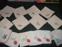 14 Vtg Lot 50s Embroidered Tea Time Cocktail Napkins Linen Feedsack10.5sq #PE