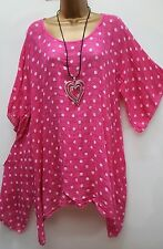 "New Pink Spotty Lagenlook Thin Cotton Blend Tunic Top uk 16 18 20 22 24 52"" osfa"