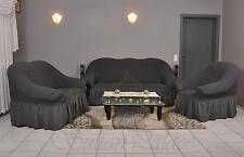 Sofabezug Sesselbezug Sitzbezug 3er+2er+1er Sofa Bezug Husse Überwurf anthrazit