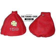 """For Alfa Romeo 159 05-11 Gear & Handbrake Gaiter Red Leather """"Clover"""" White Logo"""