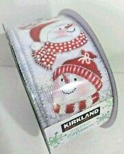 "Kirkland Wire-Edged Seamless Ribbon 50 Yards 2.5"" Roll Holiday Christmas Snowman"