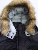 Schott Parka Jacket Men's Medium Grey Nylon Quilted Hooded Coat Vintage BRg721 #