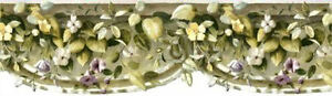Die-Cut Ivy and Flowers on a Curved  Pediment Wallpaper Border  AO6924B