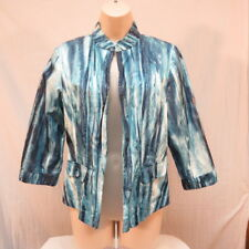 Chico's Blue and Turquoise shaded  Jacket Size 0 3/4 sleeves Lined