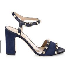 36841676e2a7 New ListingNIB Valentino Rockstud Marine Navy Leather Ankle Strap Block  Heel Sandal 36