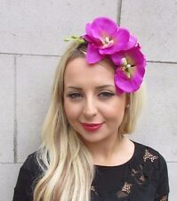 Fuchsia Purple Pink Orchid Flower Fascinator Headpiece Headband Hair Vtg 3310