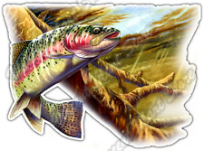 "Rainbow Trout Fish Fishing Wildlife Ocean Car Bumper Vinyl Sticker Decal 5""X4"""