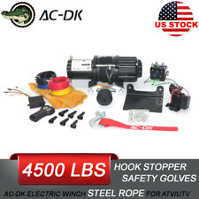 Ac-Dk 4500Lbs Electric Winch 12V Synthetic Rope 4Wd Atv Utv Winch Towing Truck
