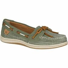 Sperry Women's Top-Sider Barrelfish Linen Olive Canvas Slip On Shoe NEW 10 WIDE
