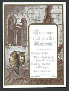 Y02 - VICTORIAN RELIGIOUS SCRIPTURE MOTTO CARD - OWLS - TUDHOPE AND CAMPBELL