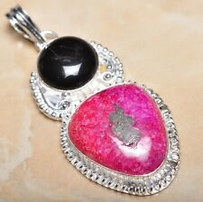 "Handmade Cherry Ruby Natural Gemstone 925 Sterling Silver Pendant 2.5"" #P13247"