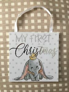 New My First Christmas Dumbo Disney Hanging Sign Primark