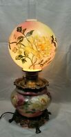 Antique Victorian Gone With The Wind GWTW Parlor Hurricane Lamp Roses