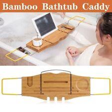 Bamboo Bath Caddy Rack Tray Bathtub Shower Shelf Wine Tablet Holder Expandable