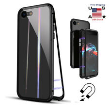 For iPhone 8 7 Plus Magnetic Adsorption Double Side Glass Case Shockproof Cover