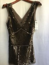 ARDEN B. LUXE OLIVE GREEN SEQUINS AND CHIFFON ROW EDGE EVENING CLUBBING TOP NEW