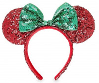 NWT Authentic Disney Parks Exclusive Minnie Mouse Holiday Christmas Sequin Ears