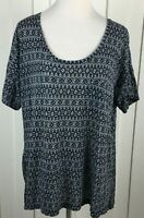Ann Taylor LOFT Black Geometric Knit Top Short Sleeve Scoop Neck Modal Women's L
