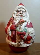 "Vintage Spinning Musical Santa Claus Figurine Plays ""Here Comes Santa Claus"""