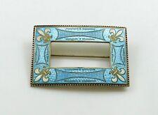 Art Nouveau Sterling Guilloche Enamel Fleur-De-Lis Blue Sash Pin Brooch Signed
