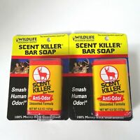 2 Scent Killer Bar Soap Anti-Odor Wildlife Research Unscented 4.5 oz Hunting