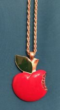 Used Ladies Girls Red Apple Pendant Necklace Diamanté With Silver Chain