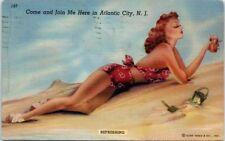New Jersey Postcard Atlantic City NJ 1940s Vintage Pin-Up Model Retro Swimsuit
