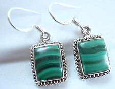 Malachite Earrings Sterling Silver Rope Style Border Accent w Beautiful Markings