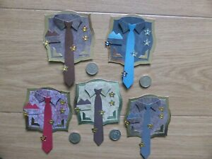 5 Men's Fancy Shirt & Tie handmade Mens card toppers, Birthday Dad Fathers Day