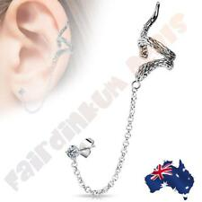 Snake Design Ear Cuff with 316L Surgical Steel Chain Linked Cubic Zirconia Gem