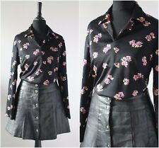 Vintage 1970s Floral Big Collar Shirt DISCO Black RETRO Mod Scooter Hippy Top 16