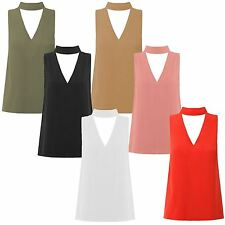 New Womens Plus Size Cut Out Plunge Choker High Neck Collar Top 8-22