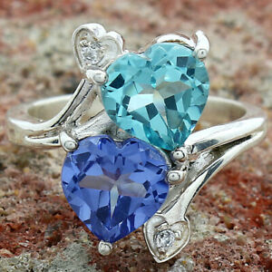 Aquamarine Simulated and Tanzanite 925 Sterling Silver Ring s.7 Jewelry 0308