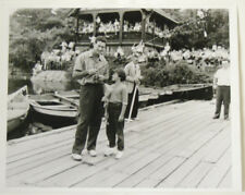 MODERN REPRINT TED WILLIAMS 11X13 PUBLICITY PHOTO ON DOCK W/ FISHING ROD VG/EXC