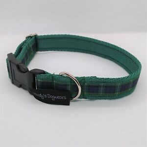 Campbell scottish green tartan dog collar or collar and lead set