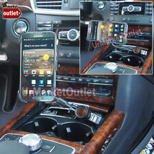 Long Car Cell Mount Bend+USB+Cigarette Port/Outlet Fit Samsung Galaxy Note 2 II