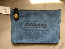 NWT Coach Turnlock Denim Multi/Gold Pouch