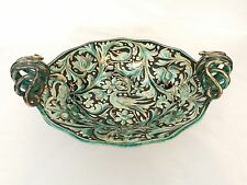 Large Hand Painted Gold Phenix Snake Handled Footed Center Bowl Italian Majolica