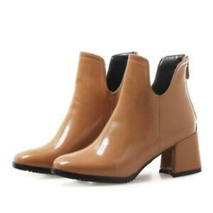 New Women Smart Office Work Casual Square Toe Chunky Heel Ankle Boots Outdoor B