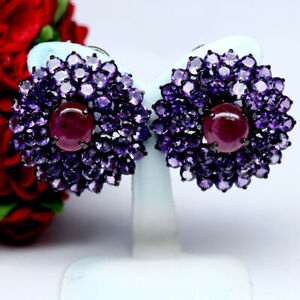 BIG NATURAL 9 mm. ROUND RED RUBY & PURPLE AMETHYST EARRINGS 925 STERING SILVER