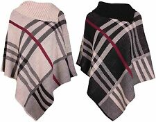 Poncho Jumpers & Cardigans Check for Women without Fastening