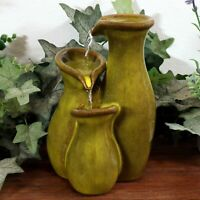 "Sunnydaze Indoor Tabletop Fountain Feature Tiered Green Ceramic Carafe - 8"""