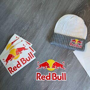 RED BULL ATHLETE ONLY BEANIE BUNDLE - STICKER - GREY/WHITE - WINTER - RARE - HAT