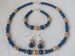 Steel Blue & Orange Pearl Necklace Earring and Bracelet set