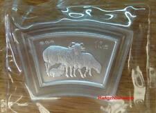 china 2003 lunar animal goat fan shape 1oz silver coin 10yuan
