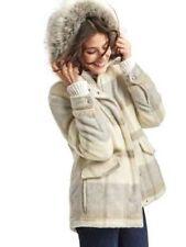 NWT Gap Wool blend parka Jacket Coat grey plaid  SZ S       #464193  v92