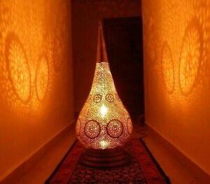 Handmade Moroccan Floor Lamp, Living Room Lamp Metal Brass-Copper