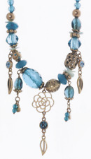 £75 Gold Turquoise Blue Rose Flower Charm Necklace Swarovski Elements Crystal